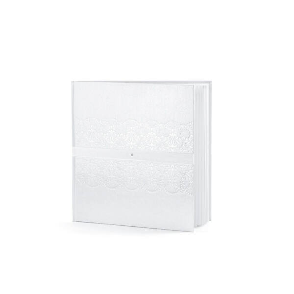esküvői vendégkönyv – strasszos, fehér