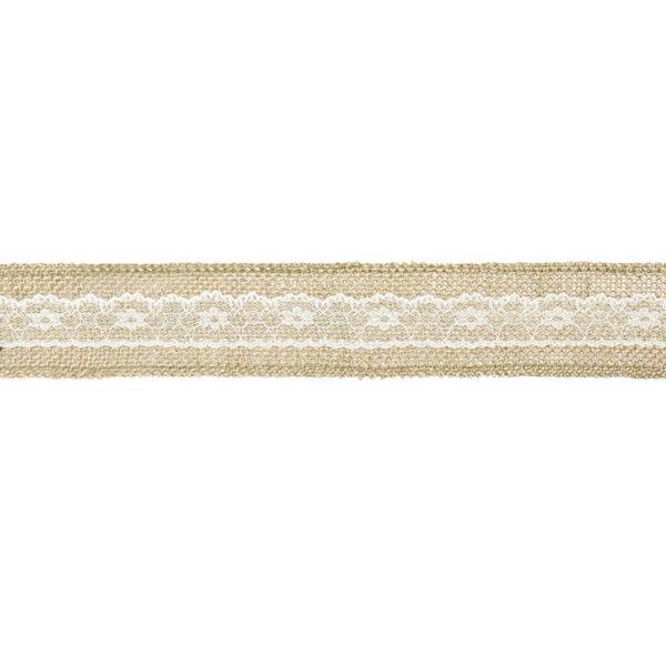 5 cm széles zsákvászon szalag  (5 m) - csipke középpel